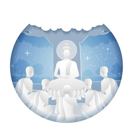 lord of Buddha teach five ascetics to be enlighten with paper art design, vector illustration