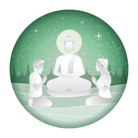 lord of Buddha meditation while man and woman pay respect with paper art design,vector illustration