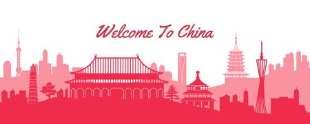 famous landmark of China,travel destination with silhouette classic with national flag color design,vector illustration