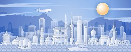 China famous landmark paper art style with blue and white color,vector illustration