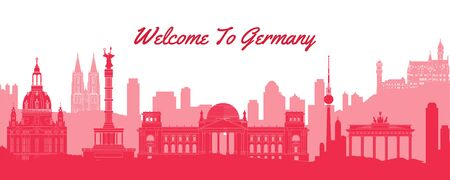 famous landmark of Germany,travel destination with silhouette classic design,vector illustration Ilustrace