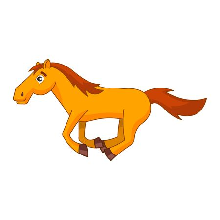 clipart of horse in cartoon version by flat design,vector illustration