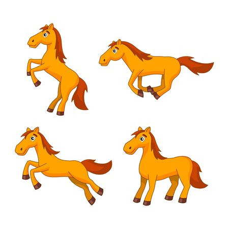 bundle of clipart of horse in cartoon version by flat design,vector illustration