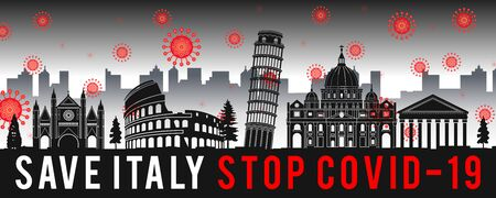 concept art with coronavirus fly over landmarks of italy,vector illustration Illustration