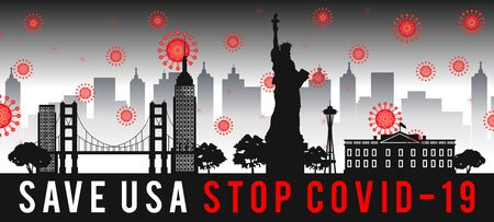 concept art with coronavirus fly over landmarks of usa,vector illustration