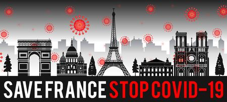 concept art with coronavirus fly over landmarks of the france,vector illustration
