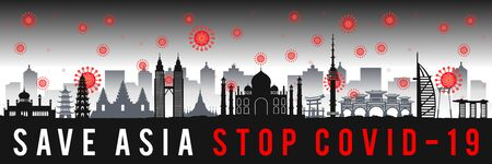 concept art with coronavirus fly over landmarks of asia,vector illustration