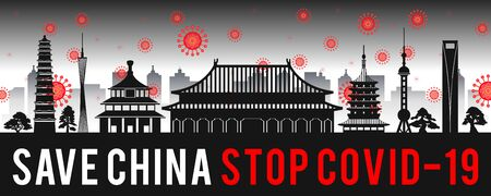 concept art with coronavirus fly over landmarks of china,vector illustration