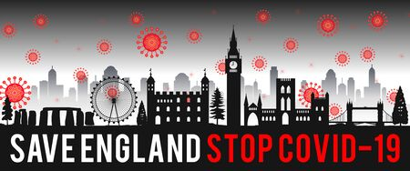concept art with coronavirus fly over landmarks of england,vector illustration