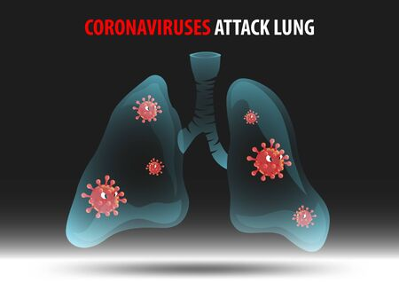 cartoon version of coronaviruses attack human lung,vector illustration