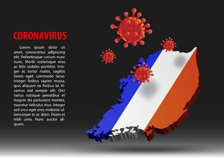 coronavirus fly over map of France within national flag,vector illustration