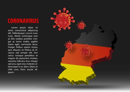 coronavirus fly over map of germany within national flag,vector illustration Illustration