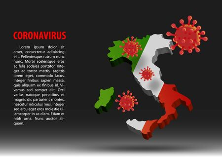 coronavirus fly over map of Italy within national flag,vector illustration
