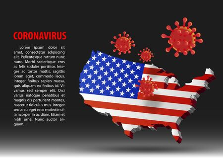 coronavirus fly over map of USA within national flag,vector illustration