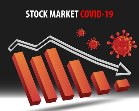 Stock market status in coronavirus crisis with 3d vector illustration