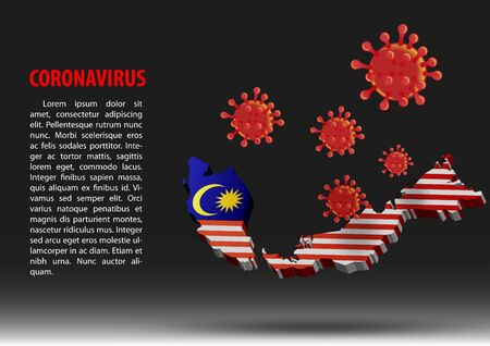 coronavirus fly over map of malaysia within national flag,vector illustration Illustration