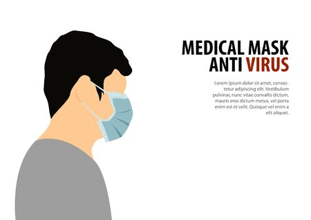man wear medical mask with flat color design Illustration