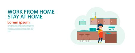 banner of cartoon version of working home and stay home with flat design