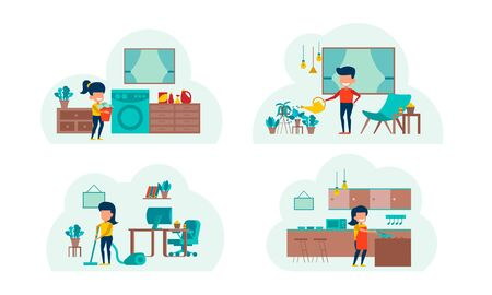 set of cartoon version of working home and stay home with flat design