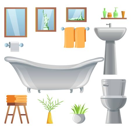 collection of room decoration of bathroom with gradient design,vector illustration Illustration