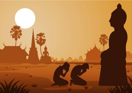 Buddhist woman and man pay respect to buddha sculpture politely with faith and belief,silhouette style vector illustration