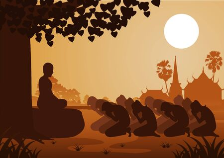 Buddhist women and men pay respect to monk politely with faith and believe,silhouette style vector illustration