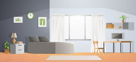 room decoration of bedroom with gradient design,vector illustration