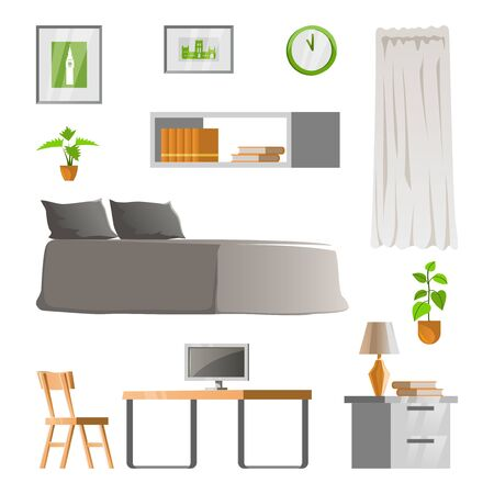 collection of room decoration of bedroom with gradient design,vector illustration