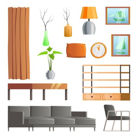 collection of room decoration of living room with gradient design,vector illustration Illustration