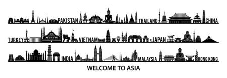 collection of famous landmarks of Asia silhouette style with black and white color,vector illustration Illustration