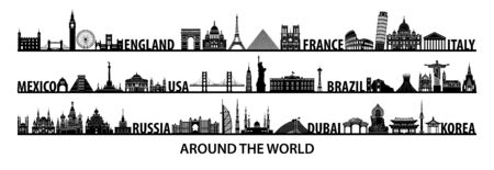 world famous landmarks silhouette style with black and white color design,vector illustration