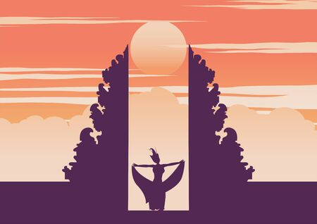 Handara gate famous landmark of Indonesia in Bali island and dancing girl,vector illustration Illustration