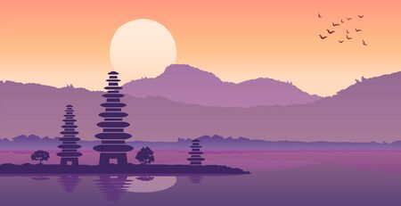 Pura ulan danu famous pagoda of Indonesia in bali island in silhouette design,vector illustration