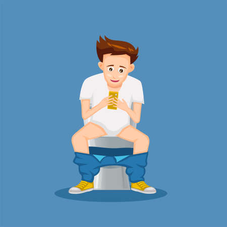 cartoon of people sitting on toilet in cartoon design and playing smart phone,vector illustration Illustration