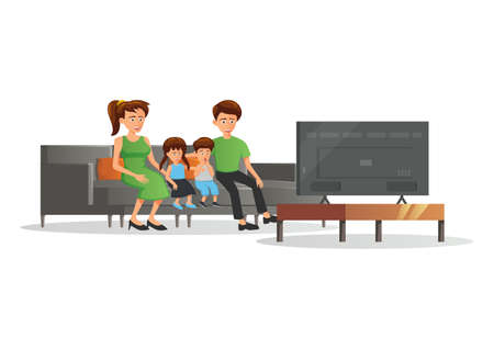 cartoon version of family member watch to TV,vector illustration