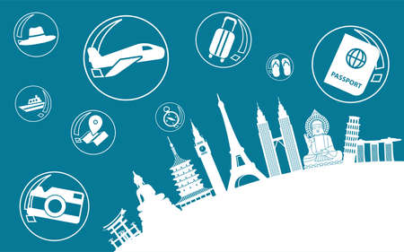 Concept art of travel bubble by landmarks symbols with corona virus situation and travel symbols,vector illustration Illustration