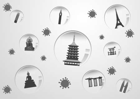 Concept art of travel bubble by landmarks symbols with corona virus situation,vector illustration Illustration
