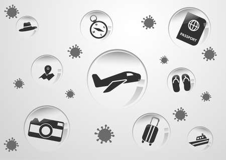 Concept art of travel bubble by travel symbols with corona virus situation,vector illustration