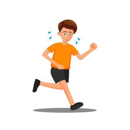 flat design of cartoon character of man is run,vector illustration 向量圖像
