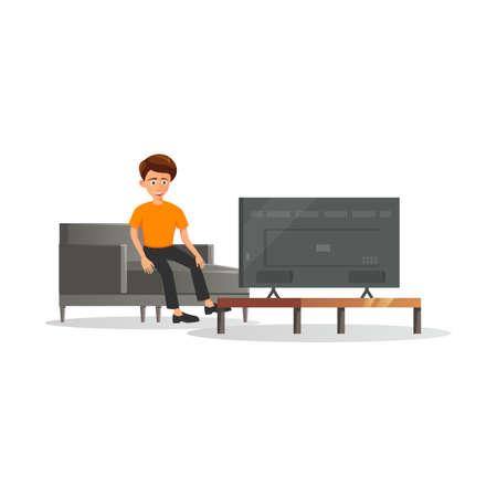 flat design of cartoon character of man is watching TV,vector illustration
