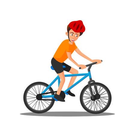 flat design of cartoon character of man is riding bicycle,vector illustration 向量圖像