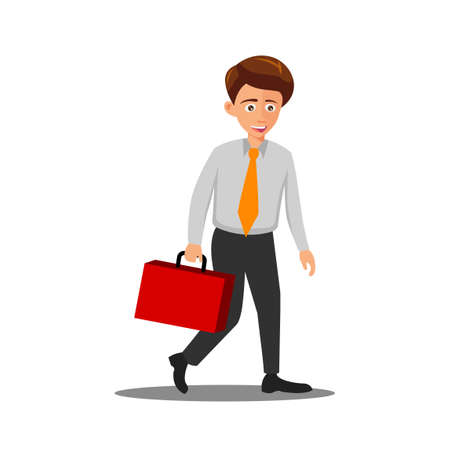 flat design of cartoon character of man goes to workplace,vector illustration