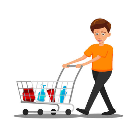 flat design of cartoon character of man is shopping,vector illustration
