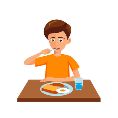 flat design of cartoon character of man is eating,vector illustration 向量圖像