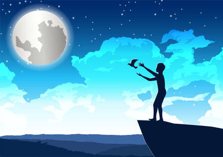 man let bird out to peace on the cliff in beautiful night,vector illustration
