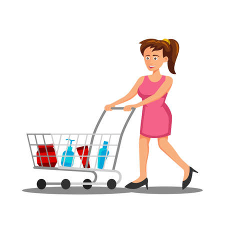 flat design of cartoon character of woman is shopping,vector illustration