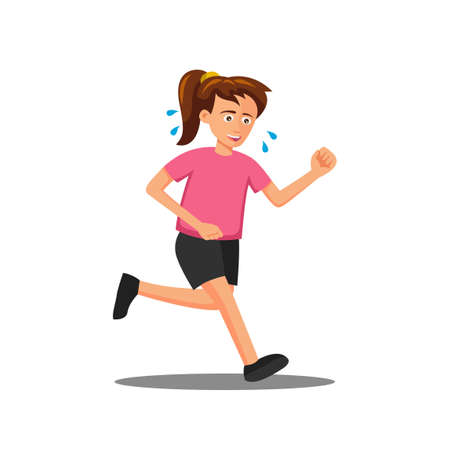 flat design of cartoon character of woman is run,vector illustration