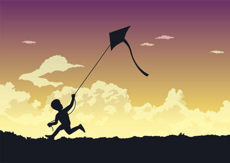 People avtivity and life scene of a boy is running to play his kite happily around the wonderful clouds 向量圖像