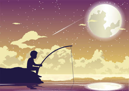 People avtivity and life scene of tha boy is sitting to fishing in beautiful night