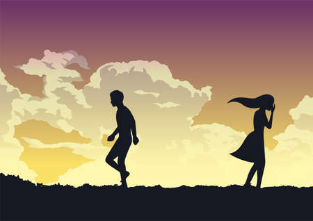 couple breaking up with sad emotion,vector illustration 向量圖像